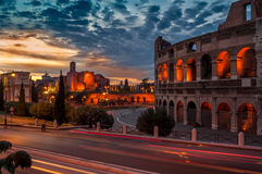 Night View of The Colosseum. Night Ruins Colosseum in The Ancient Part of Roma Royalty Free Stock Photos