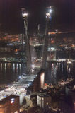 Night view of construction of big guyed bridge Royalty Free Stock Photography