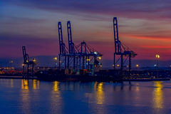 Night view of container terminal Royalty Free Stock Image