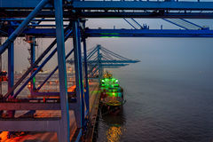 Night view of container terminal Royalty Free Stock Photo
