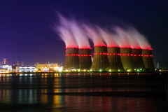 Night view of cooling towers of the Novovoronezh nuclear power plant from the co Stock Photo