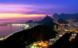Night view of Copacabana beach and Botafogo in Rio Stock Photos