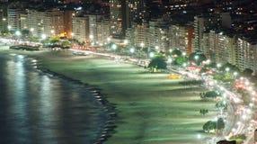 Night view of Copacabana beach in Rio de Janeiro Stock Photos