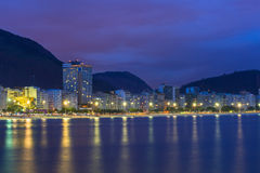 Night view of Copacabana beach in Rio de Janeiro Royalty Free Stock Images