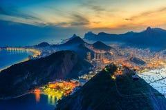 Night view of Copacabana beach, Urca and Botafogo in Rio de Jane. Night view of Copacabana beach, Urca and Botafogo from Sugar Loaf in Rio de Janeiro stock photo