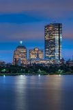 Night View of Copley Square from the Charles Stock Image