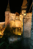 Night view on Corvin castle Stock Photos