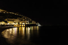 A night view of costiera amalfitana Stock Photos