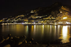 A night view of costiera amalfitana Stock Image