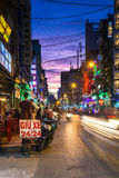 Night view of crowded Bui Vien street, Ho Chi Minh City, Vietnam. Ho Chi Minh City, Vietnam - November 20, 2015: Night view of crowded Bui Vien street, famous Stock Photography
