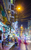 Night view of crowded Bui Vien street, Ho Chi Minh City, Vietnam. Ho Chi Minh City, Vietnam - November 20, 2015: Night view of crowded Bui Vien street, famous Royalty Free Stock Photo