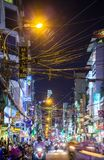 Night view of crowded Bui Vien street, Ho Chi Minh City, Vietnam. Ho Chi Minh City, Vietnam - November 20, 2015: Night view of crowded Bui Vien street, famous Royalty Free Stock Photos