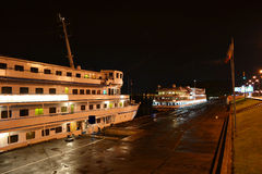 Night view of cruise boat Royalty Free Stock Photography