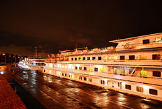 Night view of cruise boat Stock Image