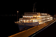 Night view of cruise ship in port Royalty Free Stock Images
