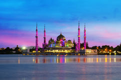 Night view of crystal mosque in Kuala Terengganu, Malaysia. Royalty Free Stock Photography