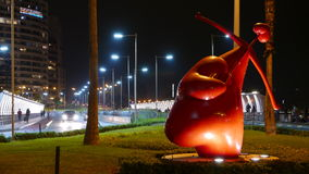 Night view of Cupid statue in Miraflores district, Lima Stock Photos