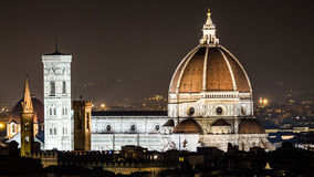 Night view of the Cupola del Brunelleschi in Florence. Night scenic view on the most famous italian cathedral located in Florence - Cupola del Brunelleschi Stock Photography