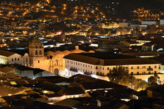 Night view of Cusco, Peru Stock Photography