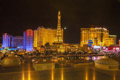 Night view of the dancing fountains of Bellagio Stock Photos