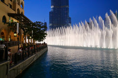 Night view Dancing fountains downtown and in a man-made lake in Stock Photography