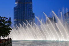 Night view Dancing fountains downtown and in a man-made lake in Royalty Free Stock Images
