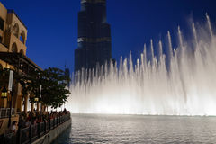 Night view Dancing fountains downtown and in a man-made lake in Royalty Free Stock Photography