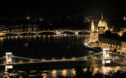 Night view on Danube in Budapest Stock Images
