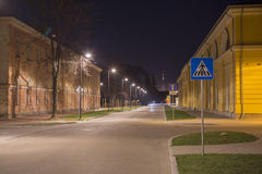 Night view in Daugavpils city effort near old Mark Rotko art center building Stock Photos