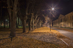 Night view in Daugavpils city effort with old military gates. Royalty Free Stock Images