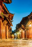 Night View of Dayan Ancient City Street in Lijiang, Yunnan, China stock photos