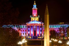 Night View of Denver City Hall and War Memorial Stock Photography
