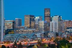 Night view of the Denver city skyline. Colorado stock photo