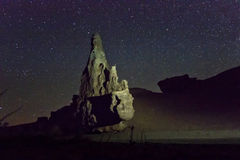 Night view of desert canyon with big rock Royalty Free Stock Photos
