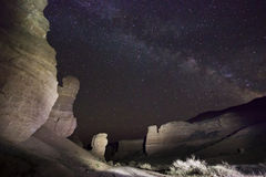 Night view of desert canyon with big rocks Royalty Free Stock Photos