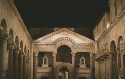 Night view of Diocletian`s Palace. Royalty Free Stock Photo