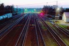 Night view of direct railroad tracks. Night view of direct railway tracks stock photo