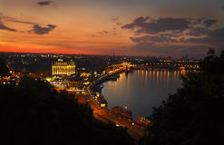 Night view of the Dnieper River. Kiev, Ukraine. royalty free stock images