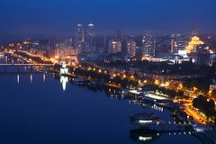 Night view of Dnipro city stock images