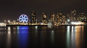Night View at Dockland Melbourne Australia with Melbourne Star Observatory Wheel Royalty Free Stock Photos