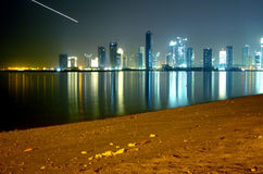 Night view from Doha, Qatar Royalty Free Stock Images