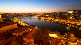 Night view of the Douro river in Porto. Stock Image