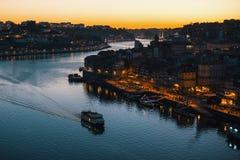Night view of the Douro river, Porto Royalty Free Stock Photo