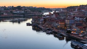 Night view of the Douro river and Ribeiro, Porto Royalty Free Stock Image