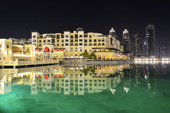 Night view Down town of Dubai city. DUBAI, UAE - SEPTEMBER 9: Night view Down town of Dubai city, on September 9, 2013, Dubai, UAE. In the city of artificial Stock Image