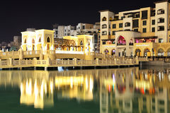 Night view Down town of Dubai city Royalty Free Stock Photos