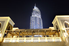 Night view Down town of Dubai city Royalty Free Stock Photo
