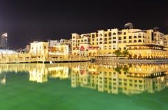 Night view Down town of Dubai city Stock Photos