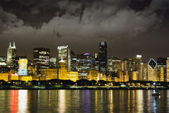 Night View at Downtown Chicago Royalty Free Stock Image