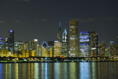 Night View at Downtown Chicago Stock Photos